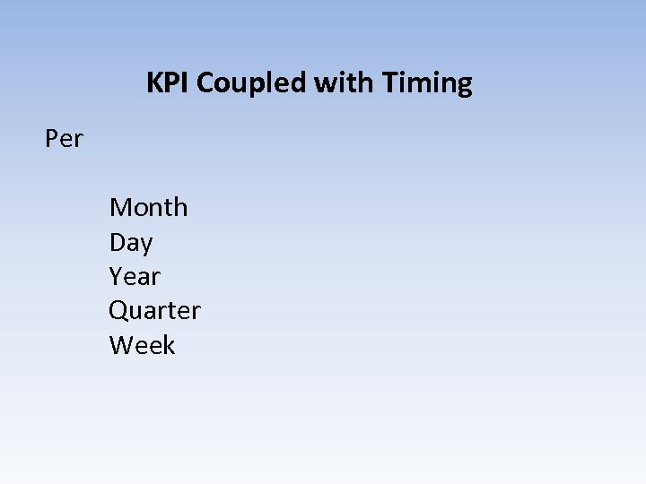 KPI Coupled with Timing Per Month Day Year Quarter Week