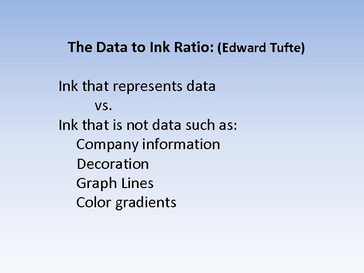 The Data to Ink Ratio: (Edward Tufte) Ink that represents data vs. Ink that