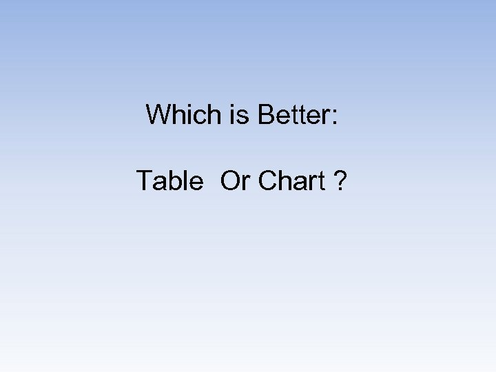 Which is Better: Table Or Chart ?