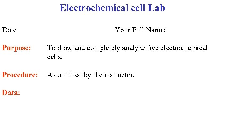 Electrochemical cell Lab Date Your Full Name: Purpose: To draw and completely analyze five