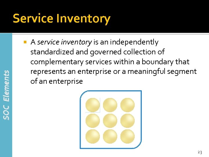 Service Inventory SOC Elements A service inventory is an independently standardized and governed collection