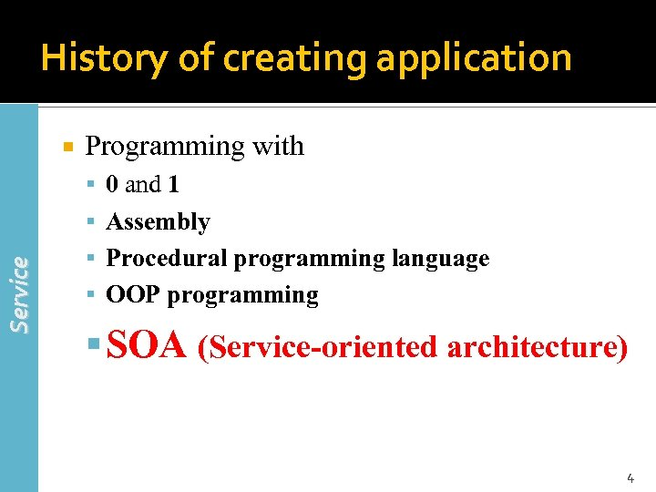History of creating application Programming with 0 and 1 Service Assembly Procedural programming language