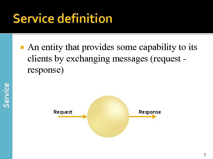 Service definition An entity that provides some capability to its clients by exchanging messages