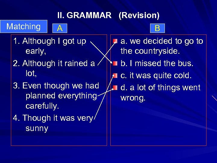 II. GRAMMAR (Revision) Matching A B 1. Although I got up a. we decided