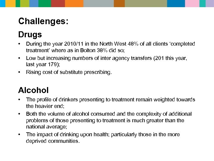 Challenges: Drugs • • • During the year 2010/11 in the North West 48%