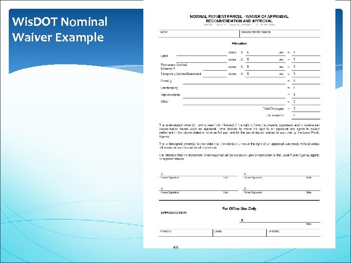 Wis. DOT Nominal Waiver Example 49