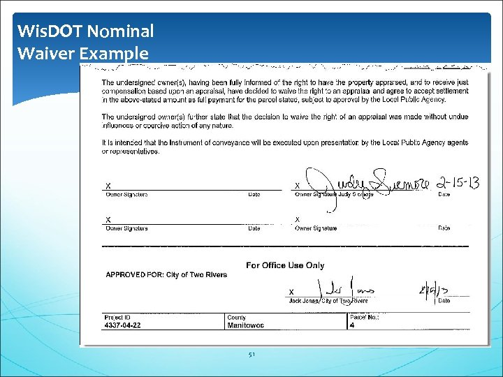 Wis. DOT Nominal Waiver Example 51