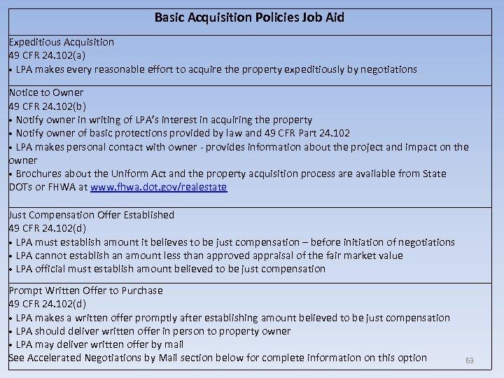 Basic Acquisition Policies Job Aid Expeditious Acquisition 49 CFR 24. 102(a) • LPA makes