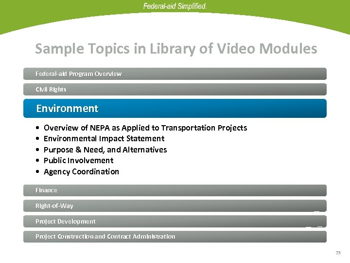 Sample Topics in Library of Video Modules Federal-aid Program Overview Civil Rights Environment •