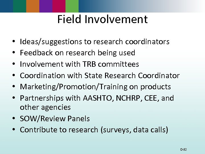 Field Involvement Ideas/suggestions to research coordinators Feedback on research being used Involvement with TRB