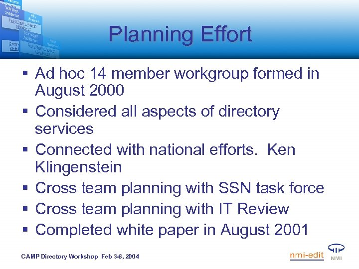 Planning Effort § Ad hoc 14 member workgroup formed in August 2000 § Considered
