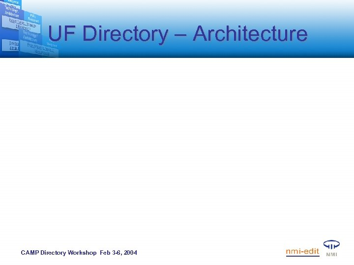 UF Directory – Architecture CAMP Directory Workshop Feb 3 -6, 2004