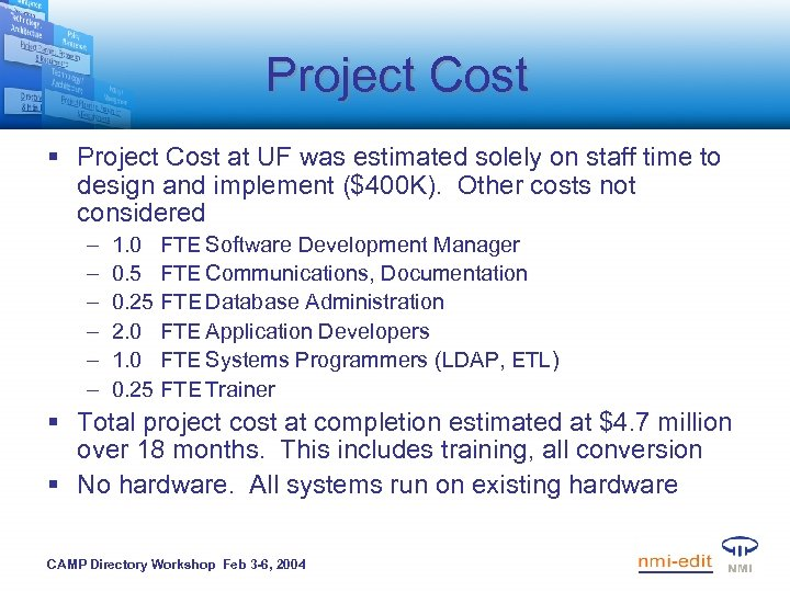Project Cost § Project Cost at UF was estimated solely on staff time to