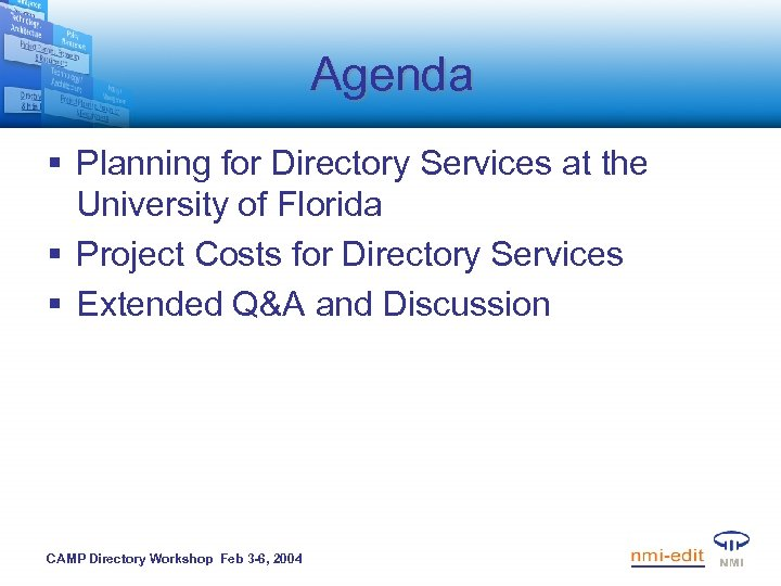 Agenda § Planning for Directory Services at the University of Florida § Project Costs