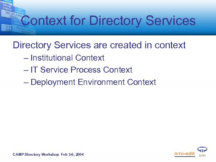 Context for Directory Services are created in context – Institutional Context – IT Service