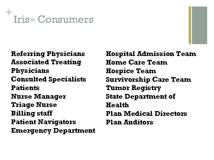 + Iris Consumers TM Referring Physicians Associated Treating Physicians Consulted Specialists Patients Nurse Manager