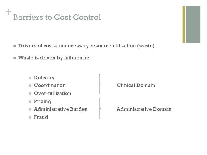 + Barriers to Cost Control n Drivers of cost = unnecessary resource utilization (waste)