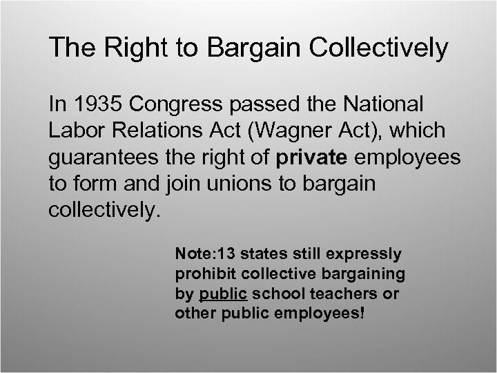 The Right to Bargain Collectively In 1935 Congress passed the National Labor Relations Act