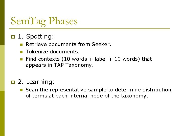 Sem. Tag Phases p 1. Spotting: n n n p Retrieve documents from Seeker.