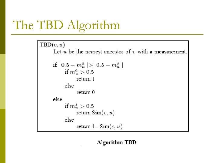 The TBD Algorithm