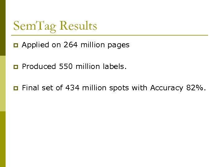 Sem. Tag Results p Applied on 264 million pages p Produced 550 million labels.