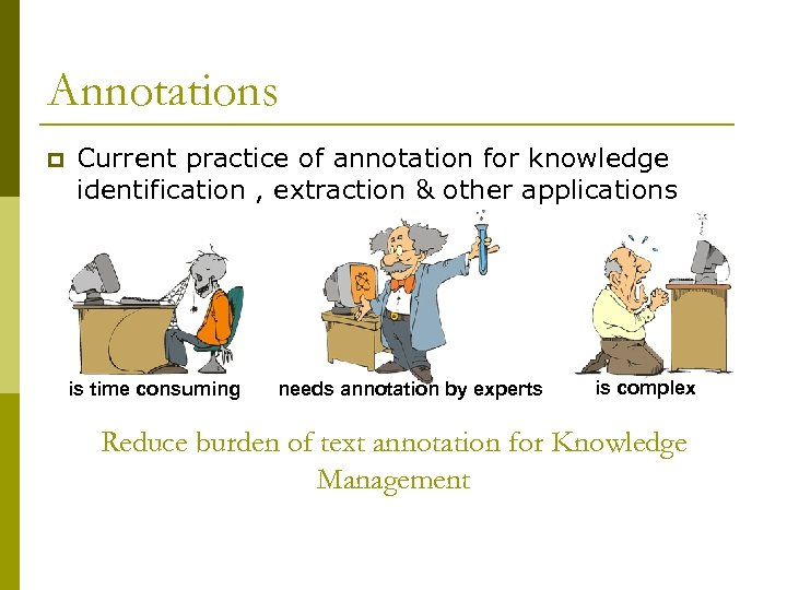 Annotations p Current practice of annotation for knowledge identification , extraction & other applications
