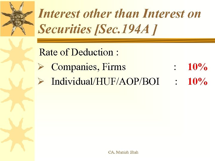 Interest other than Interest on Securities [Sec. 194 A ] Rate of Deduction :