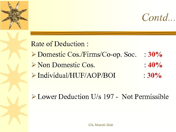 Contd. . . Rate of Deduction : Ø Domestic Cos. /Firms/Co-op. Soc. : 30%