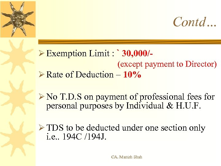 Contd… Ø Exemption Limit : ` 30, 000/- (except payment to Director) Ø Rate