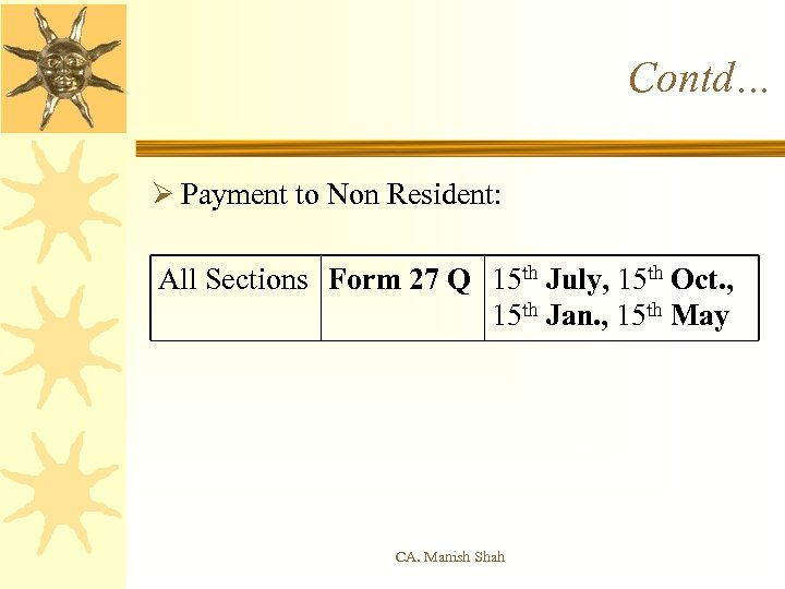 Contd… Ø Payment to Non Resident: All Sections Form 27 Q 15 th July,