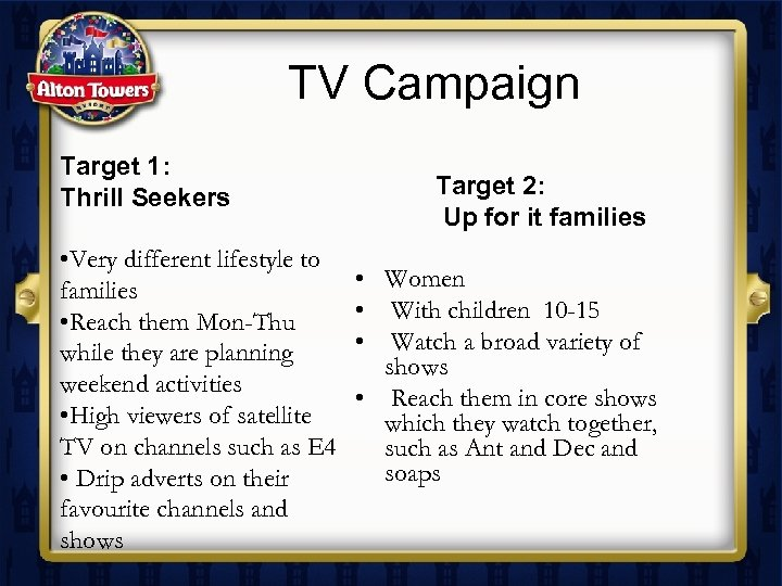 TV Campaign Target 1: Thrill Seekers • Very different lifestyle to families • Reach