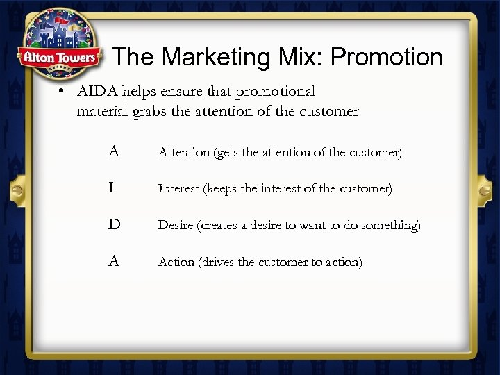 The Marketing Mix: Promotion • AIDA helps ensure that promotional material grabs the attention
