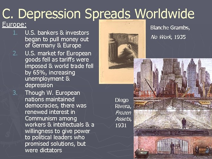 C. Depression Spreads Worldwide Europe: 1. 2. 3. U. S. bankers & investors began