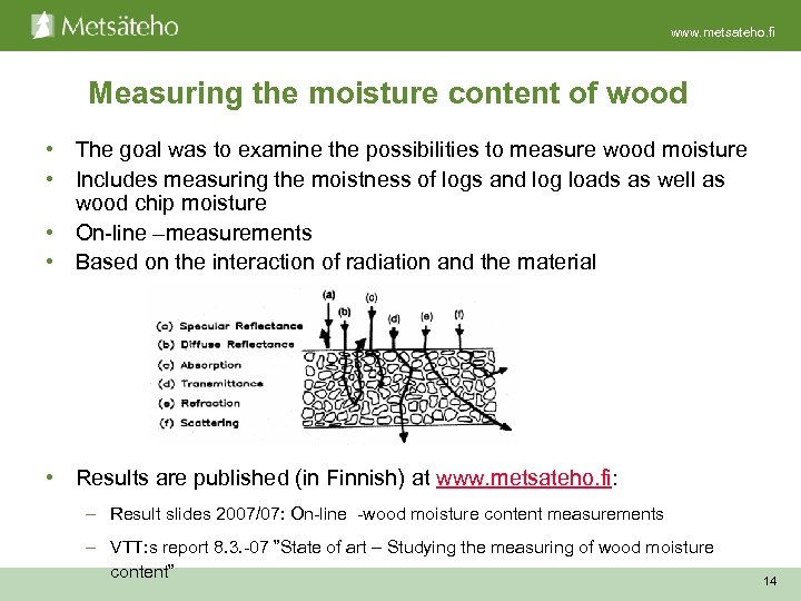 www. metsateho. fi Measuring the moisture content of wood • The goal was to