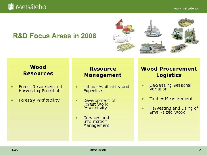 www. metsateho. fi R&D Focus Areas in 2008 Wood Resources Resource Management Wood Procurement