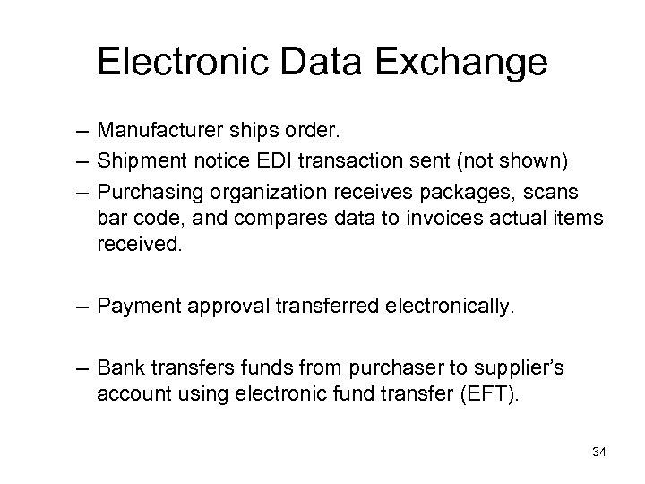 Electronic Data Exchange – Manufacturer ships order. – Shipment notice EDI transaction sent (not