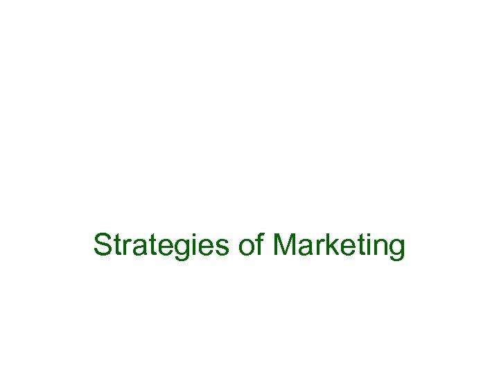 Strategies of Marketing