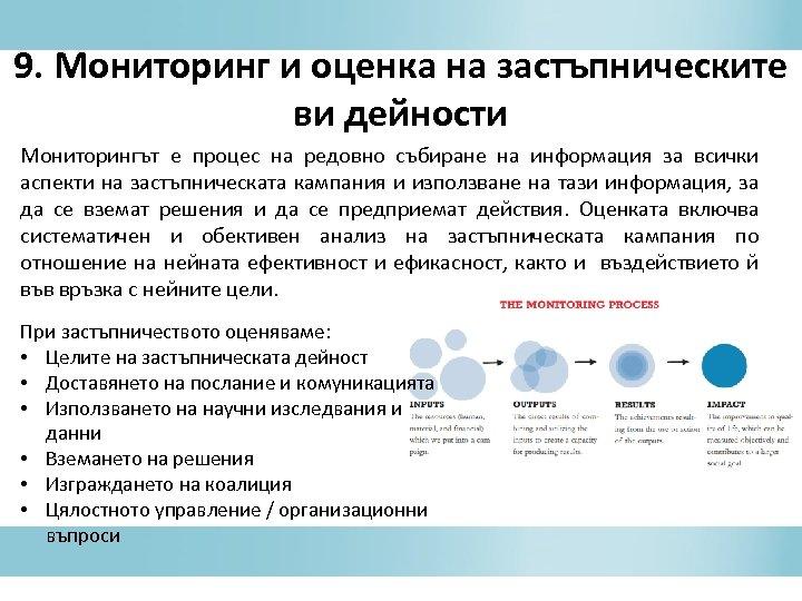9. Мониторинг и оценка на застъпническите ви дейности Мониторингът е процес на редовно събиране