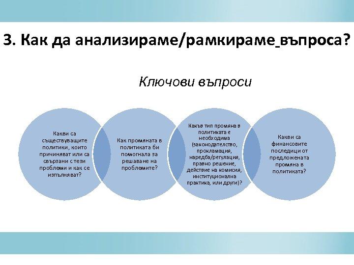 3. Как да анализираме/рамкираме въпроса? Ключови въпроси Какви са съществуващите политики, които причиняват или