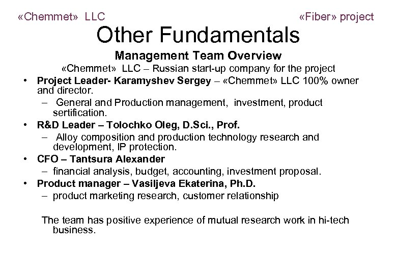 «Chemmet» LLC «Fiber» project Other Fundamentals Management Team Overview • • «Chemmet» LLC