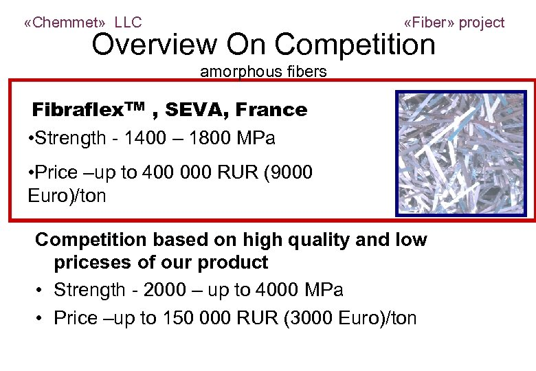 «Chemmet» LLC «Fiber» project Overview On Competition amorphous fibers Fibraflex. TM , SEVA,