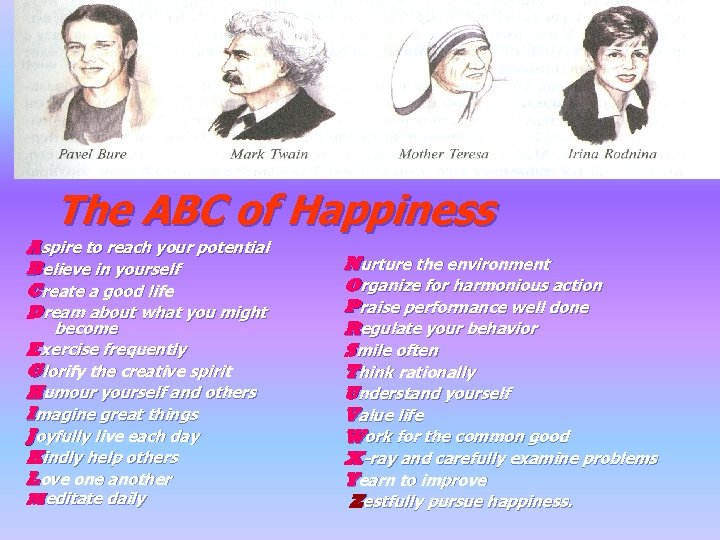 The ABC of Happiness Aspire to reach your potential Believe in yourself Create a