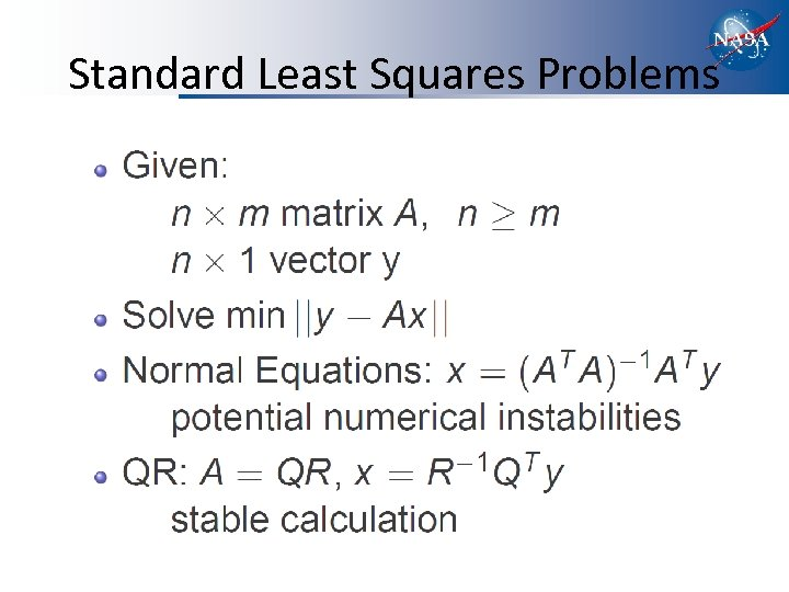 Standard Least Squares Problems