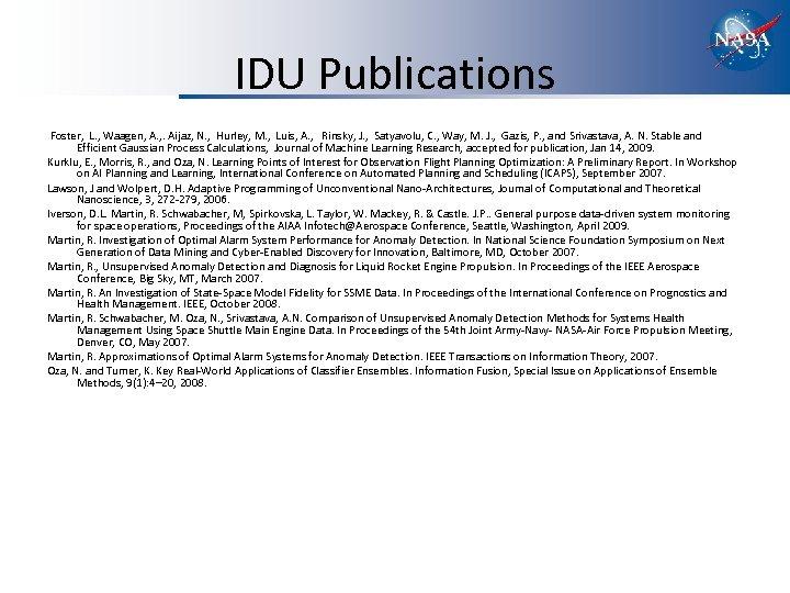 IDU Publications Foster, L. , Waagen, A. , . Aijaz, N. , Hurley, M.