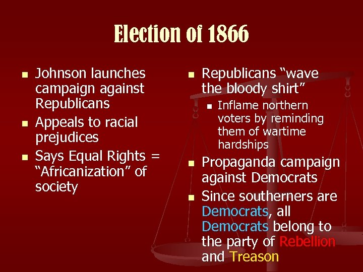 Election of 1866 n n n Johnson launches campaign against Republicans Appeals to racial