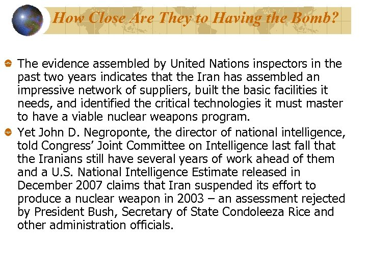 How Close Are They to Having the Bomb? The evidence assembled by United Nations