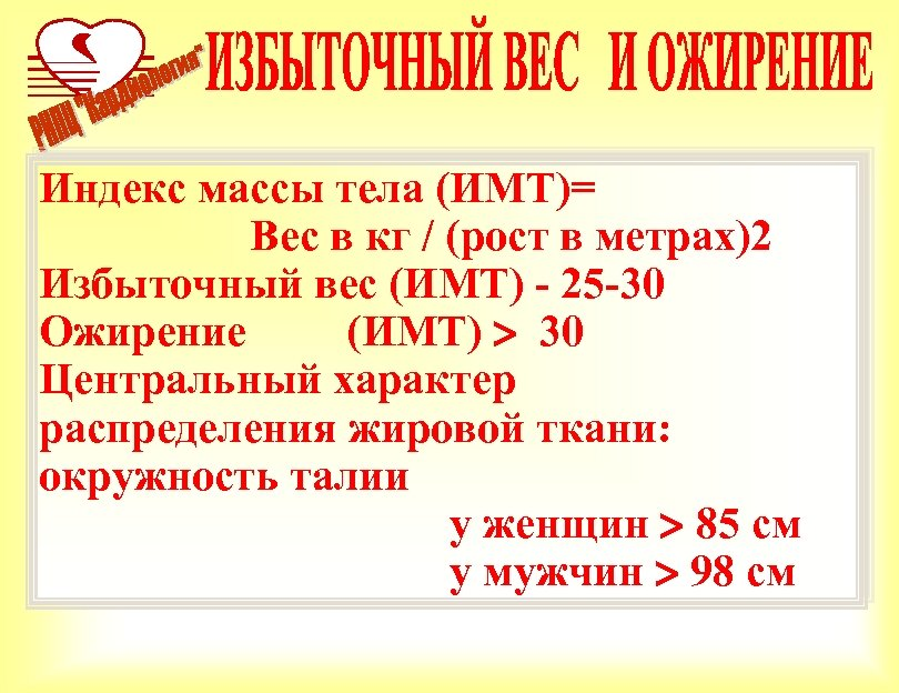 Индекс массы тела (ИМТ)= Вес в кг / (рост в метрах)2 Избыточный вес (ИМТ)