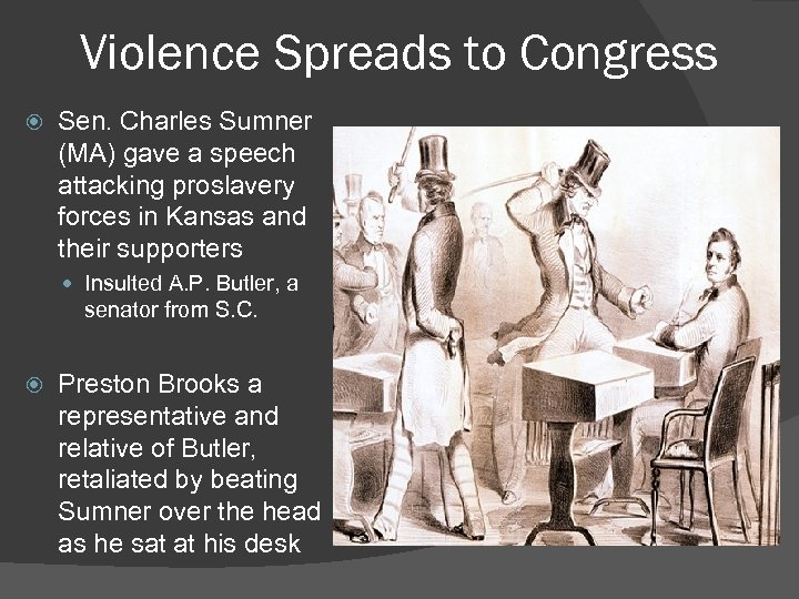 Violence Spreads to Congress Sen. Charles Sumner (MA) gave a speech attacking proslavery forces