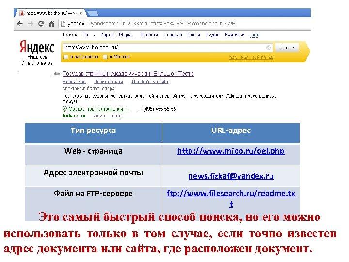 Тип ресурса URL-адрес Web - страница http: //www. mioo. ru/ogl. php Адрес электронной почты