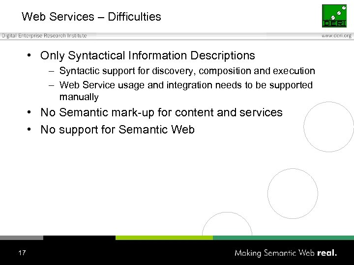 Web Services – Difficulties • Only Syntactical Information Descriptions – Syntactic support for discovery,